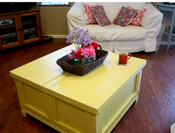 sunshine-y happiness {or the time i painted my coffee table yellow