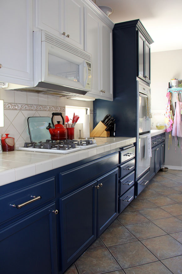 Navy And White Kitchen Cabinet Painting Life Rearranged